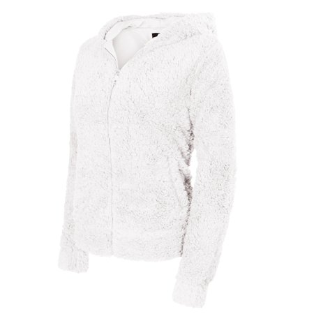 fdea5958a500 Made by Olivia - Made by Olivia Women s Casual Warm Fluffy Faux Fur Hooded  Zip Up Bomber Jacket Off-White S - Walmart.com