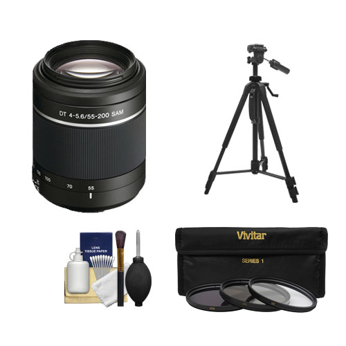 Click here to buy Sony Alpha DT 55-200mm f 4-5.6 SAM Zoom Lens with Tripod + 3 UV ND8 CPL Filter Set + Cleaning Kit for A37,... by Sony.