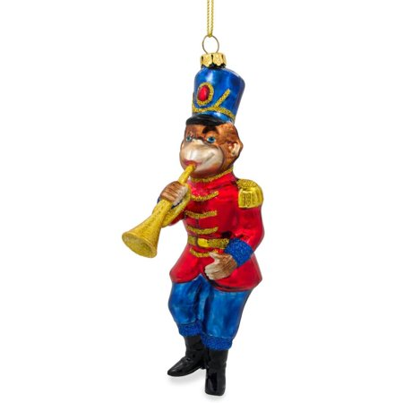 Monkey Nutcracker with Trumpet Blown Glass Christmas Ornament 6 Inches