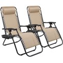 2-Pack Walnew Zero Gravity Reclining Lounge Chair with Adjustable Pillow