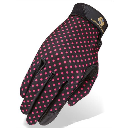 04 SIZE HERITAGE PERFORMANCE RIDING GLOVES HORSE EQUESTRIAN POLKA DOTS PRINTS