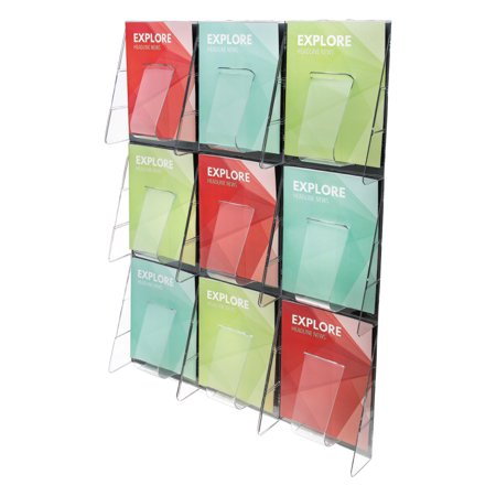 Nine Pocket Magazine Rack - deflecto 9-Pocket Wall Mount Literature Racks