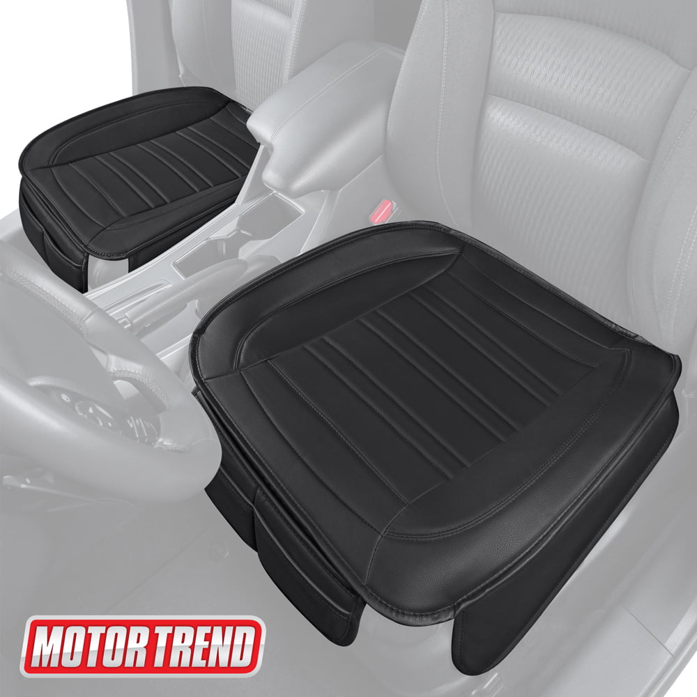 Universal Car Front Seat Cover Black Leather Cushion Pad DIY Easy Mount Clip 1x