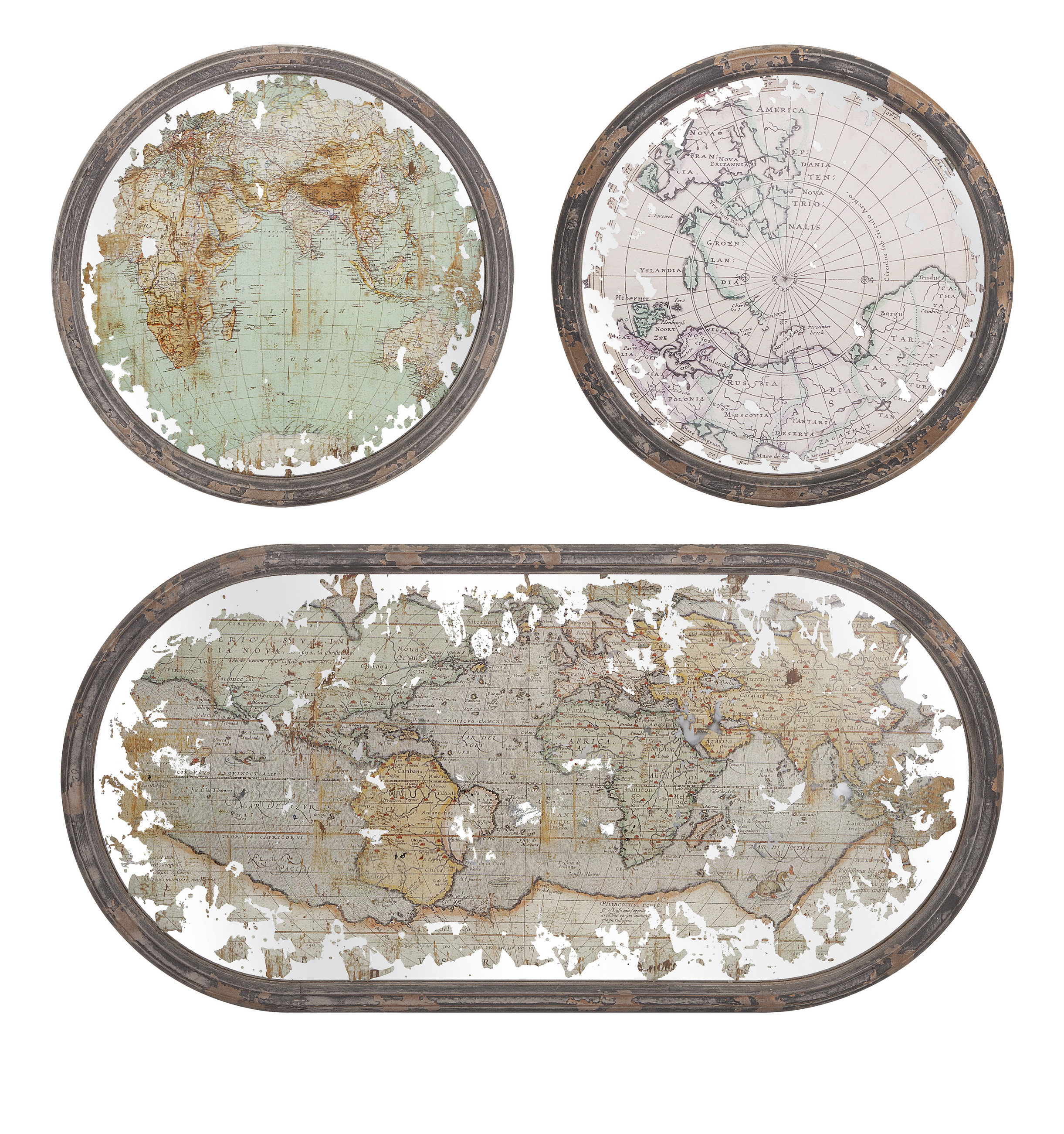 Classy Mirrored Map Wall Decor - Set of 3