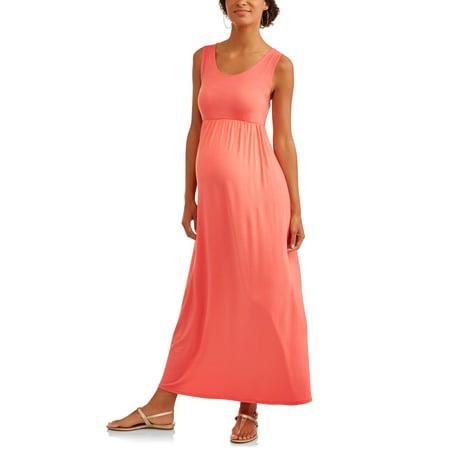 Maternity Solid Jersey Empire Waist Maxi Dress - Devil In A Blue Dress Halloween
