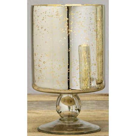 Medium Mercury Glass Pedestal Pillar and Votive Candle Holder ()