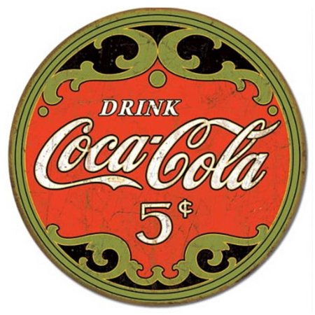 Coca-Cola Round 5 Cents Tin Sign - (Coca Cola Tin Sign)