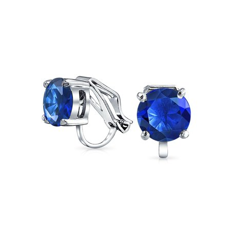 d6af9b5bb Bling Jewelry - 2CT Brilliant Cut Round Cubic Zirconia AAA CZ Solitaire Clip  On Stud Earrings For Women Silver Plated Brass More Colors - Walmart.com