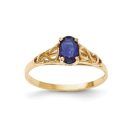 Solid 14k Yellow Gold Synthetic Simulated Sapphire Simulated Spinel Ring (1mm) - Size 4