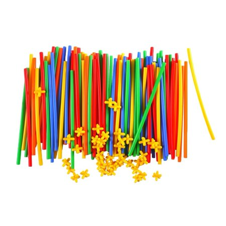 Jeobest Plastic Straw Building Set - Straws Builders Construction Building Toy - Educational Straw Building Blocks for Boys and Girls Safe and Fun Straws and Connectors Set Colorful - Educational Toys For Boys