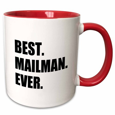 3dRose Best Mailman Ever, fun appreciation gift for your favorite mail man - Two Tone Red Mug,