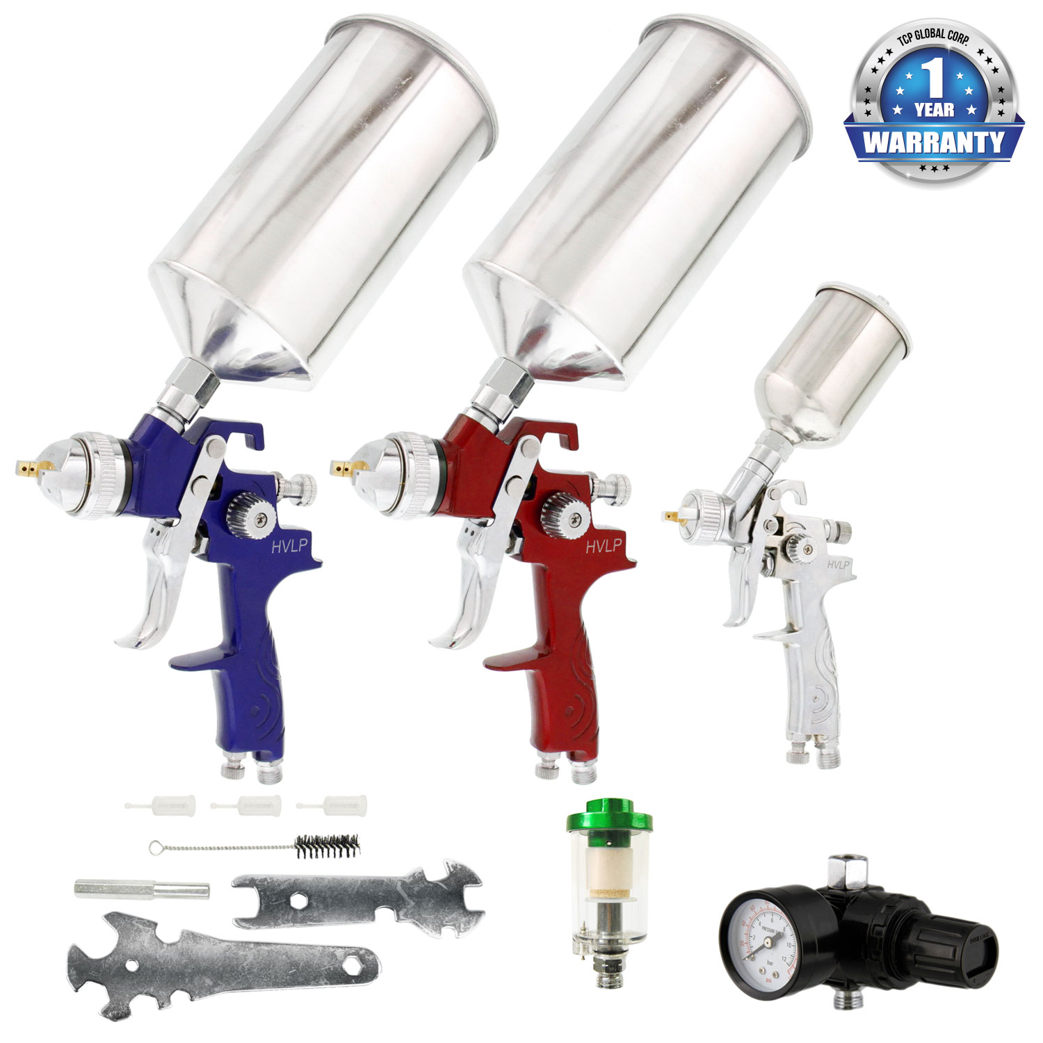 TCP Global® Brand HVLP Spray Gun Set - 3 Sprayguns with Cups, Air Regulator & Maintenance Kit for all Auto Paint
