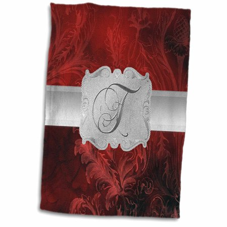 3dRose Letter T, Lavish Red Leaf Print with Silver Frame - Towel, 15 by 22-inch