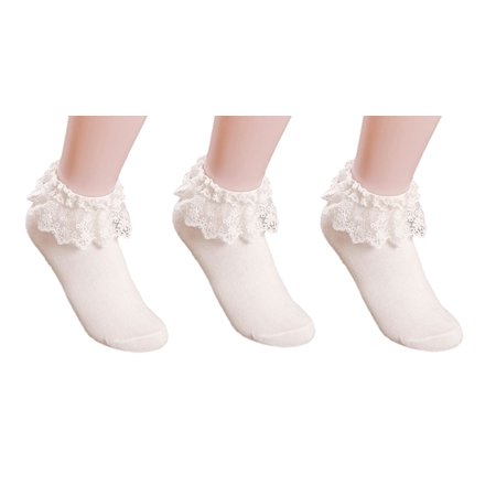 AM Landen Women's Snow White 3 pairs Lace Ruffle Frilly Cotton Socks Princess Socks Ankle (Best Oil Paintings Canvas Prints Snow Socks)