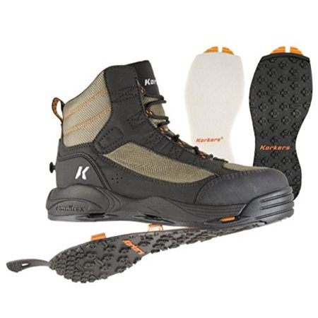 Korkers Greenback Wading Boot with Felt & Kling-On Soles, Dried Herb/Black, Size (Korkers Studded Felt)