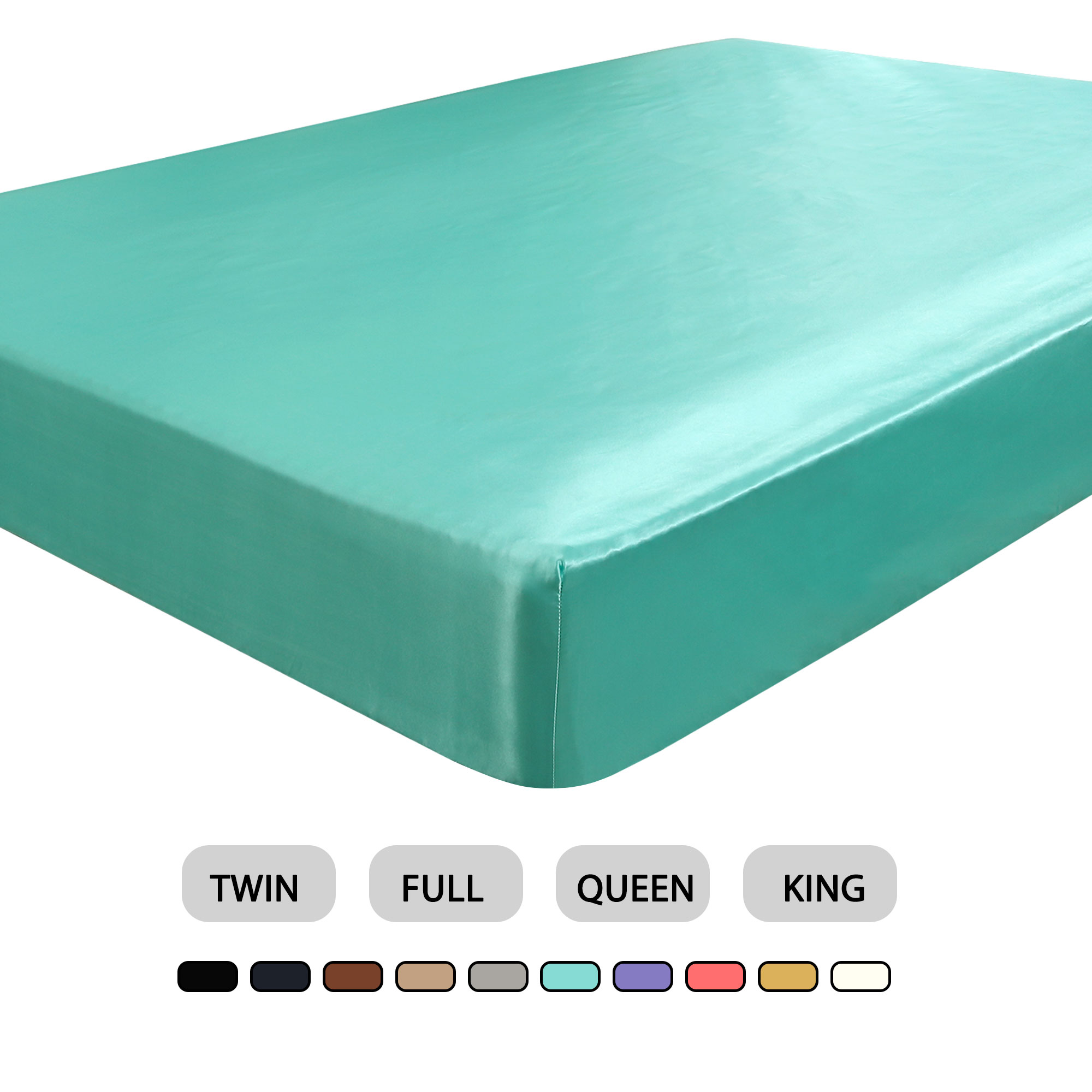 "Satin Silk Fitted Sheet 12"" Deep Pocket Breathable Bottom Sheet-Twin, Cyan"