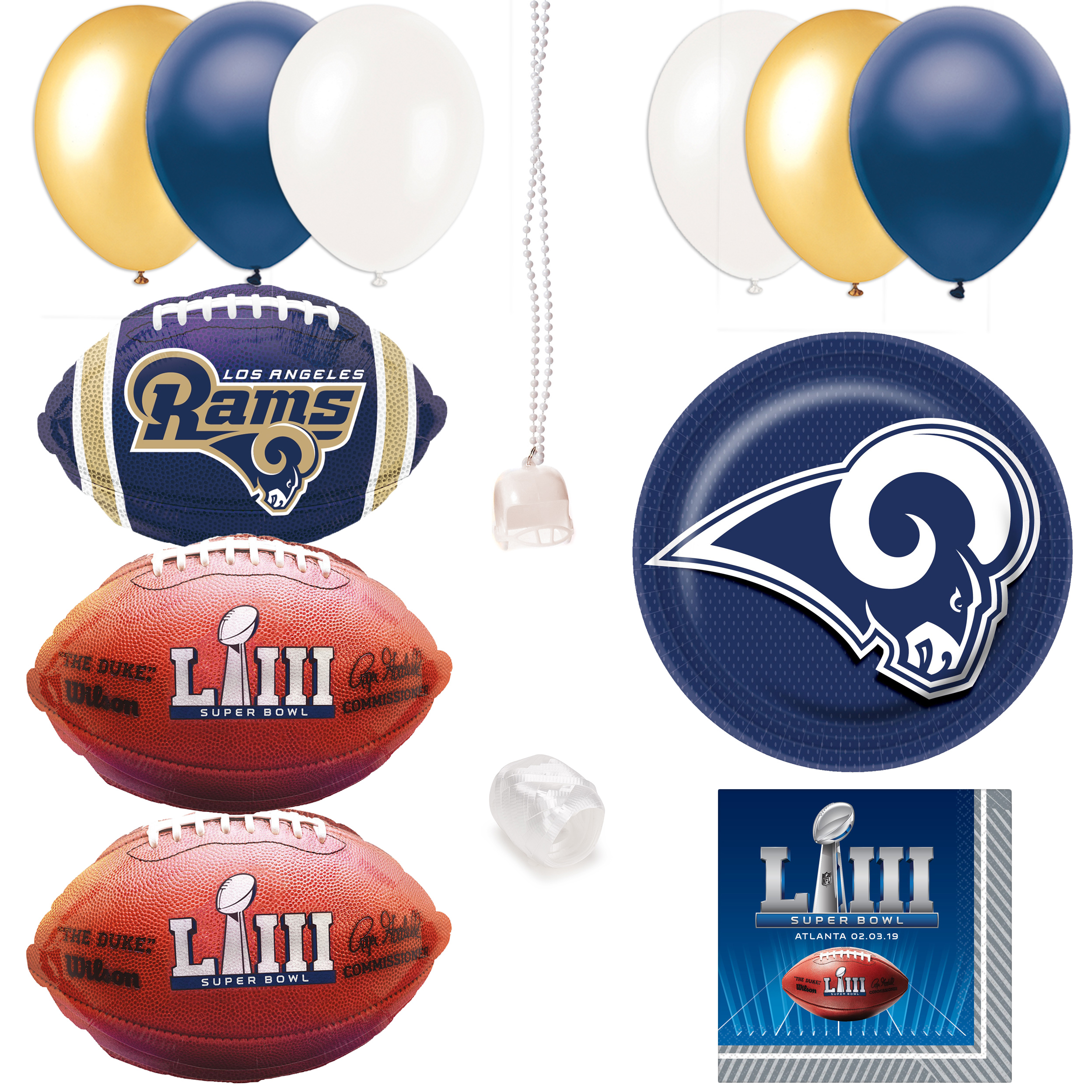 Los Angeles Rams Super Bowl 53 Football 35pc Party Decoration Pack, 8 Guests
