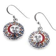 Sun Goddess Celestial Orange Enamel Sterling Silver Hook Earrings