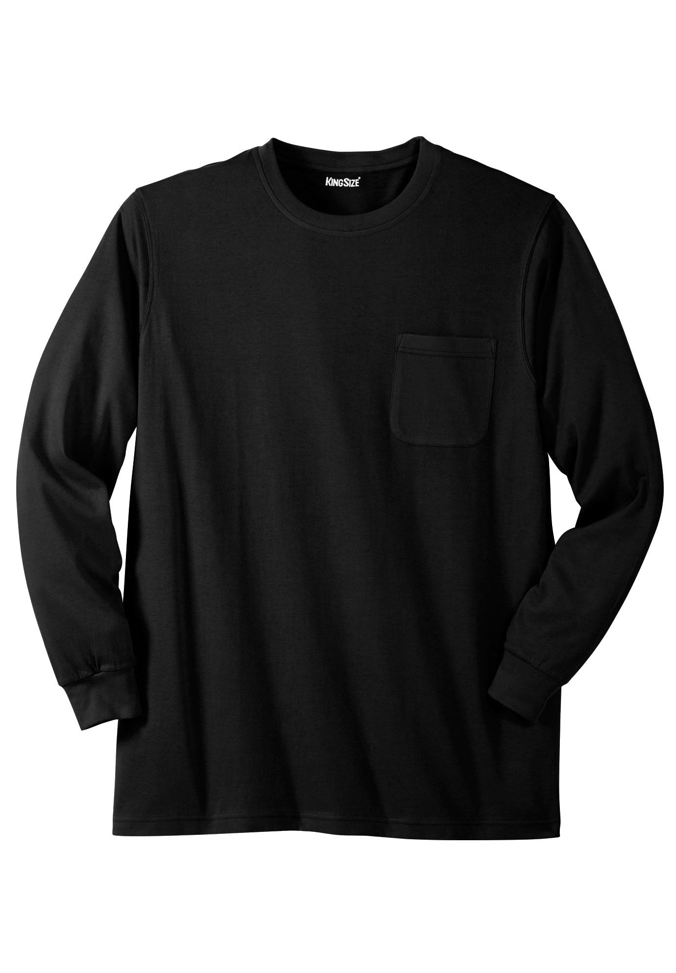 Kingsize Men's Big & Tall Shrink-less Lightweight Long-sleeve Crewneck Pocket Tee