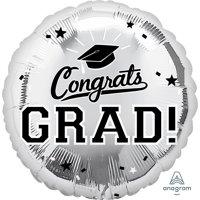 "Graduation 18"" Foil Balloon Silver (1)"