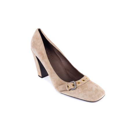 Car Shoe By Prada Brown Suede Buckled Square Toe Pumps