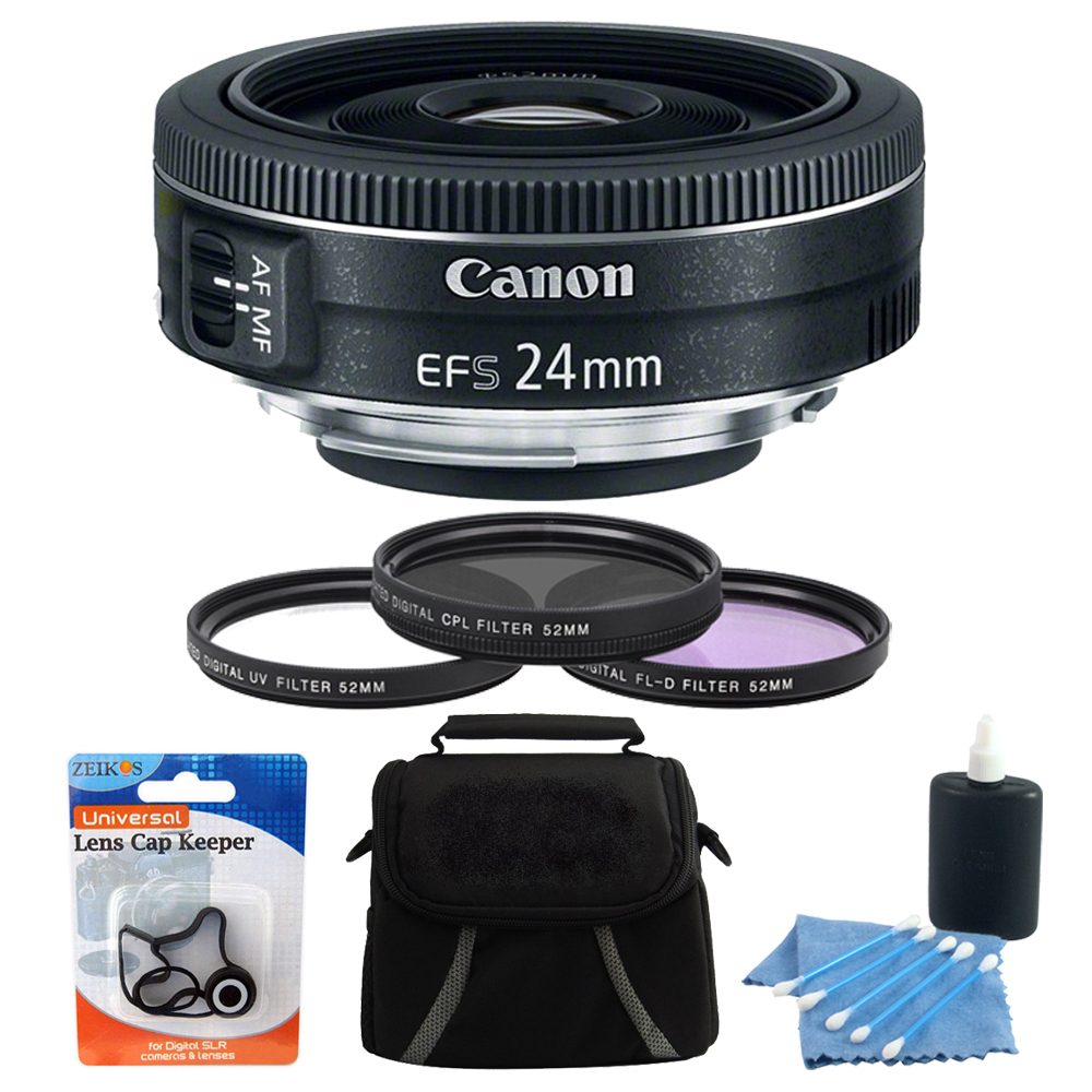 Canon EF-S 24mm f/2.8 STM Camera Lens Bundle w/ Case, 52mm Filter Kit + More