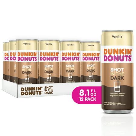 Dunkin' Donuts Shot in the Dark Iced Coffee, Vanilla, 8.1 Fl Oz, 12