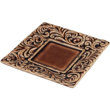 Saddle Brown Tooled Leather Square Plate - Charlie Brown Halloween Plates