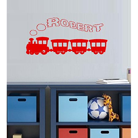 Decal ~ Decal~ Train with (Custom Name) Smoke Stack #6 Children Wall Decal 13