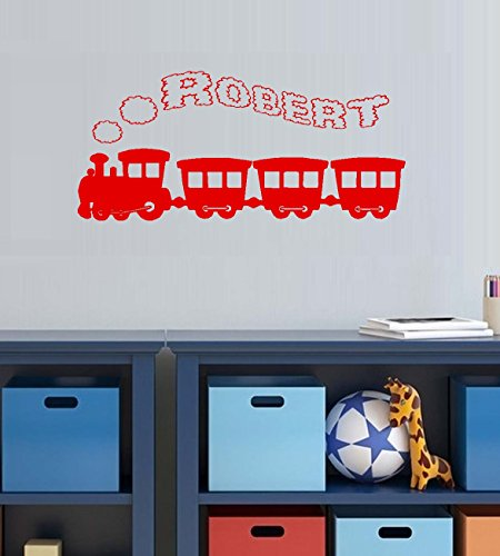 "Decal ~ Decal~ Train with (Custom Name) Smoke Stack #6 Children Wall Decal 13"" x 26"" (Red)"
