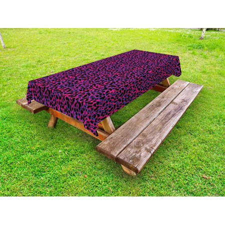 Jungle Outdoor Tablecloth, 80s Style Vintage Leopard Skin Radiant Colors African Tiger Safari, Decorative Washable Fabric Picnic Tablecloth, 58 X 104 Inches, Royal Blue Hot Pink Black, by Ambesonne](80s Tablecloth)