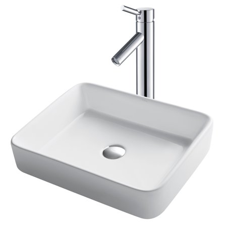 KRAUS 19-inch Modern Rectangular White Porcelain Ceramic Bathroom Vessel Sink and Sheven™ Faucet Combo Set with Pop-Up Drain, Chrome Finish (Polished Chrome White Porcelain)