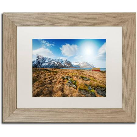"""Trademark Fine Art """"Walk Alone"""" Canvas Art by Philippe Sainte-Laudy, White Matte, Birch Frame"""