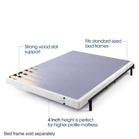 "Zinus Walter 4"" Low Profile Metal Smart Box Spring with Wood Slats, Twin"
