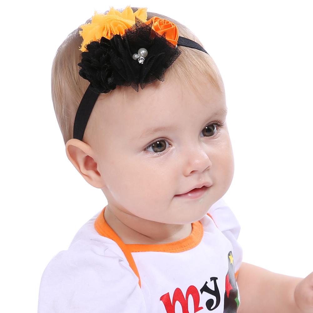 HiCoup Halloween Flower Faux Pearl Headband Baby Photo Props Hairband Headwear Decor
