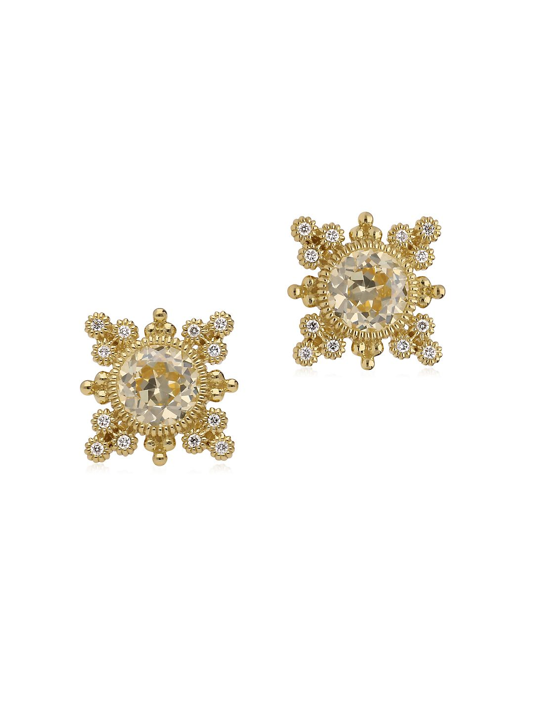 Angelica Canary Crystal, Diamond and 14K Yellow Gold Earrings