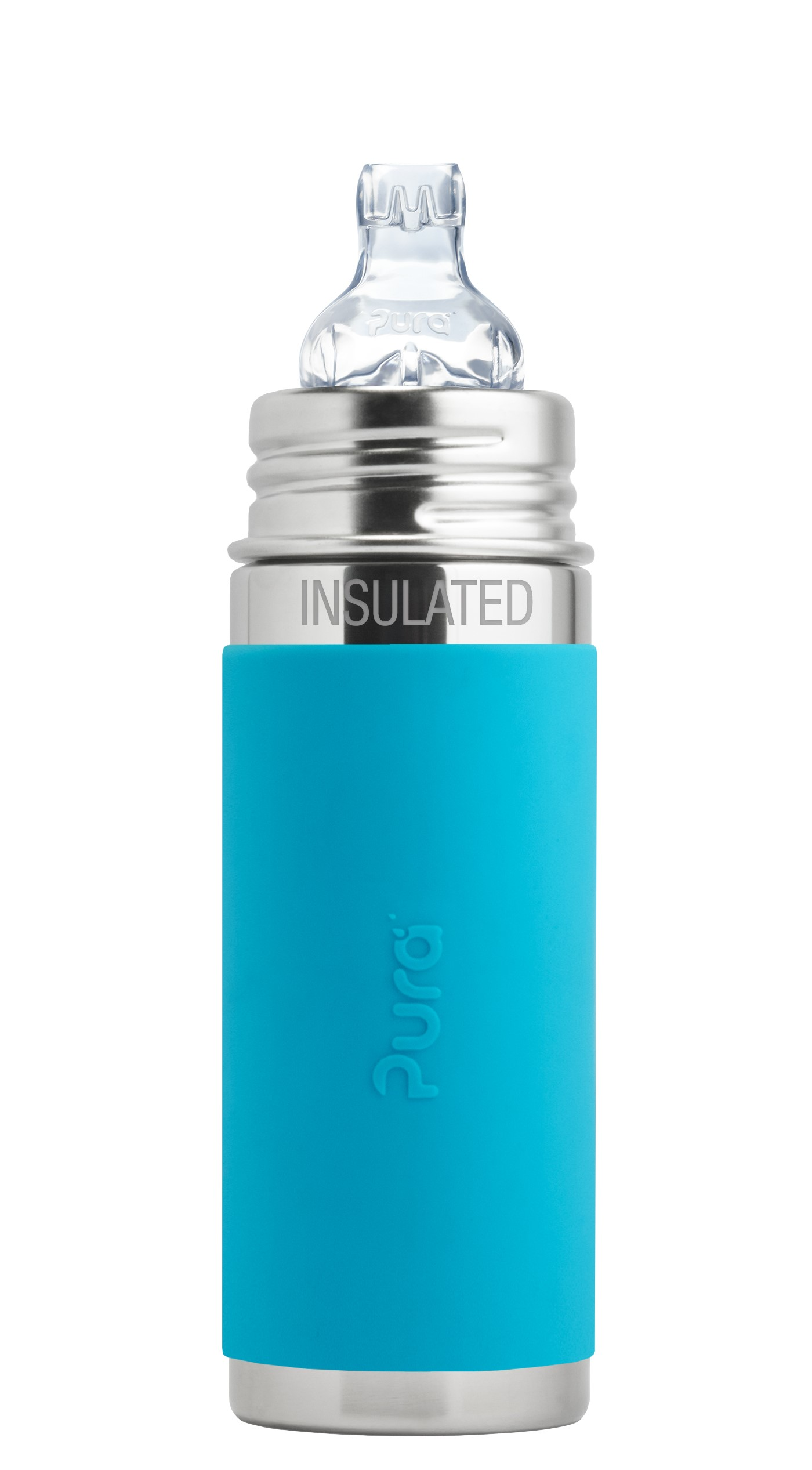 Pura Kiki 9 oz   260 ml Stainless Steel Insulated Sippy Cup with Silicone XL Sipper & Sleeve, Aqua (Plastic... by Pura Stainless