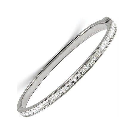 Crystal Hinge - Stainless Steel Polished w/Preciosa Crystal Hinged Bangle