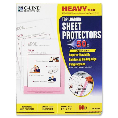 "C-line Polypropylene Top Loading Sheet Protector - Letter 8.50"" X 11"" - 3 X Holes - Polypropylene - 50 / Box - Clear (CLI62013)"