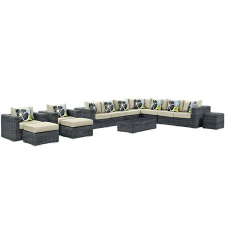 Image of Modern Contemporary Urban Design Outdoor Patio Balcony Eleven PCS Sectional Sofa Set, Beige, Rattan