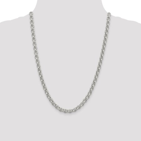 925 Sterling Silver 6.5mm Rolo Chain Necklace 24 Inch Pendant Charm Fine Jewelry Gifts For Women For Her - image 7 of 9