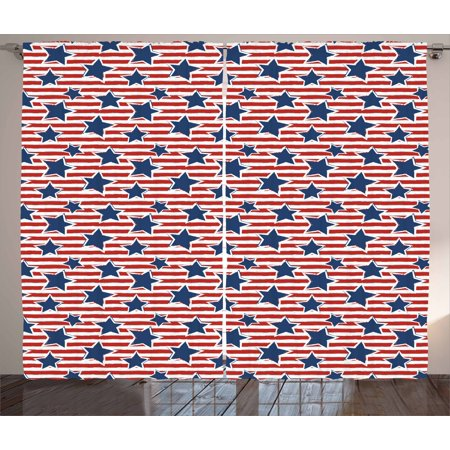 4th of July Curtains 2 Panels Set, Flag of the Greatest Nation in the World Stars and Stripes Old Glory, Window Drapes for Living Room Bedroom, 108W X 96L Inches, Royal Blue Ruby White, by Ambesonne ()