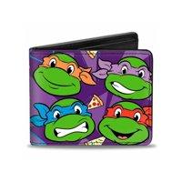 """Bi-Fold Wallet Classic Tmnt Faces + I """"Pizza-Heart"""" Tmnt Purple/Pizza"""