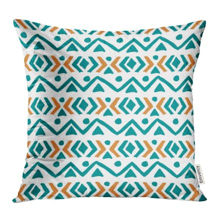 YWOTA Blue Abstract Pastel Colored Hand Chevron and Stitch Borders Grunge Blue American Pillow Cases Cushion Cover 16x16 inch