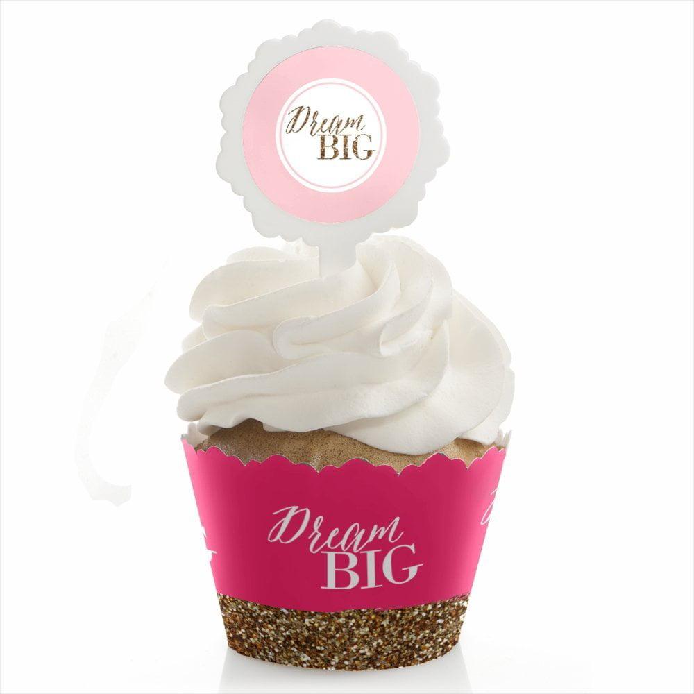 Dream Big - Graduation Cupcake Wrapper & Pick Party Kit - Set of 24