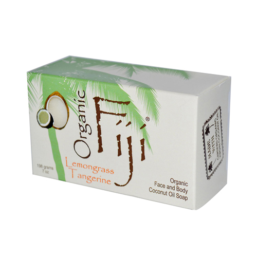Organic Fiji Organic Face and Body Coconut Oil Soap Lemongrass Tangerine - 7 oz