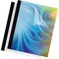 Fellowes Thermal Binding System Covers, 60-Sheet Cap, 11 x 8 1/2, Clear/Black, 10/Pack -FEL5222801