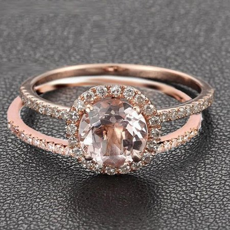 Limited Time Sale 1.50 carat Round Cut Morganite and Diamond Halo Bridal Wedding Ring Set in Rose Gold: Bestselling Design - image 2 of 2