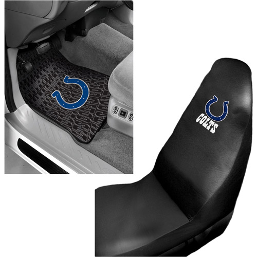 NFL Indianapolis Colts 2 pc Front Floor Mats and Car Seat Cover Value Bundle
