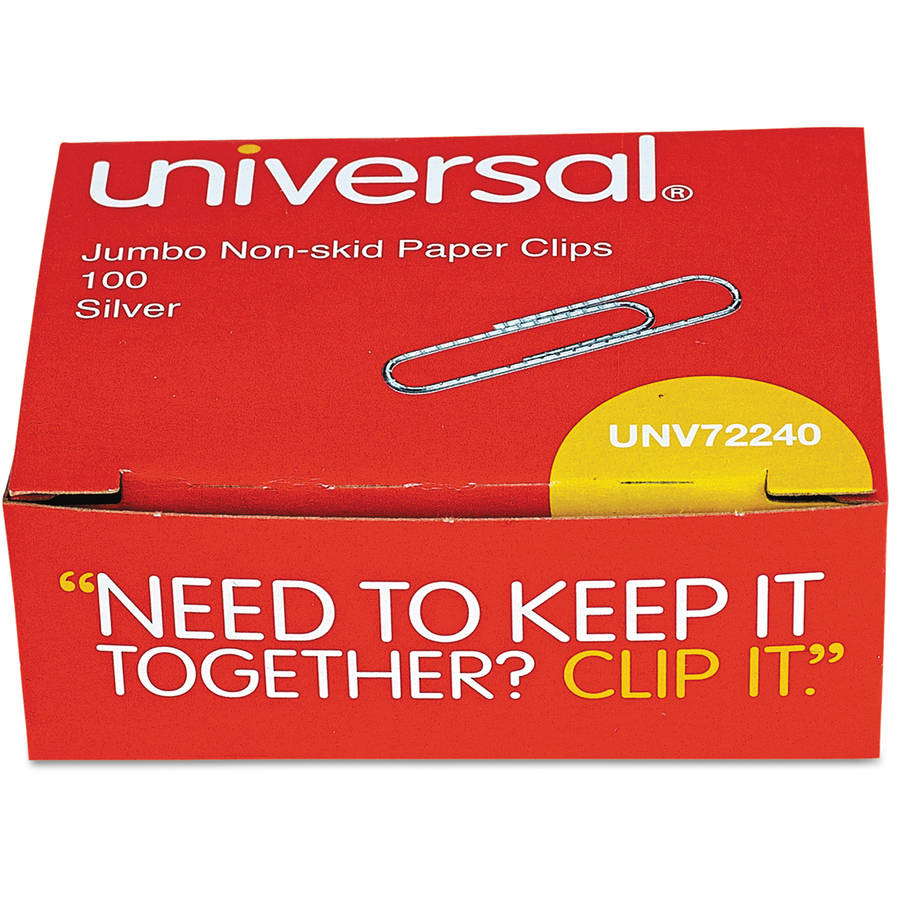 (2 Pack) Universal Nonskid Paper Clips, Wire, Jumbo, Silver, 1000/Pack -UNV72240